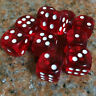 Six Sided Square Opaque 16mm D6 Dice Red With White Pips Dice Set Of 10