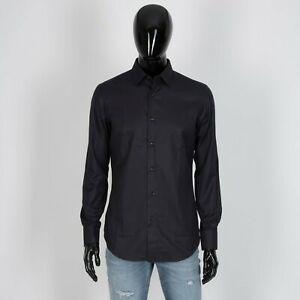 BRIONI 700$ Madison Formal Shirt In Black Cotton With Holly Collar