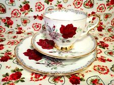 VINTAGE China TRIO Royal Stafford ROSES TO REMEMBER Floral TEA SET