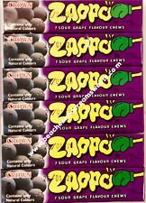 SIX Packs of Zappo Sour Grape Flavour Chews Australian Import