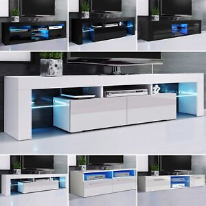 High Gloss Tv Unit Stand Display Cabinet Sideboard W/ Led Lights For Living Room
