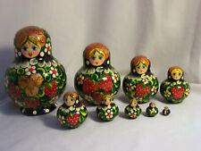 10 Poupées russes H 13,5 peintent MATRIOCHKA Gigogne FRAISE FLEUR Nested Doll
