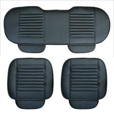 3xAuto PU Leder Sitzauflage Sitzbezüge Sitzkissen Sitzmatte mit Rücksitz Schwarz