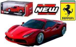 FERRARI 488 GTB diecast model car red body 1:18 BURAGO 16008R