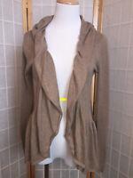 Women's Guinevere Tan Knit Open Wrap Front Drape Sweater Size Medium Cowl Neck