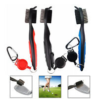 3PCS Double-sided Brush Golf Club Bristles Cleaner Ball Cleaning Clip Groove