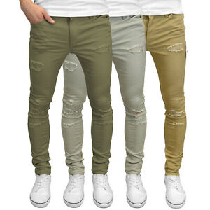 Jack & Jones Mens Skinny Fit Ripped Stretch Chino Jeans