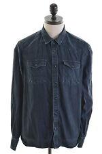 ALL SAINTS Mens Denim Shirt Medium Navy Blue Cotton