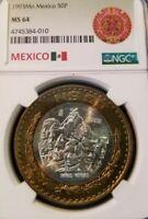 1993 Mo MEXICO 50 PESOS SILVER CORE BI-METAL NINOS HEROES NGC MS 64 GREAT COIN