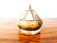 Vintage Wood & Shell Jewelry Box Wedding Ring Wooden Dome Storage