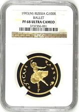Russia 1993 Gold 100 Roubles Bolshoi Ballet Ballerina NGC PF68 Rare Low Mintage