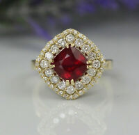 Gorgeous 14K Yellow Gold Over 3.9ct Red Ruby & Diamonds Luxury Cocktail Ring