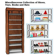 Home Shoe Rack Shelf 10 Tiers 27 Pairs Storage Closet Organizer Cabinet W/ Cover