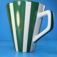 Pier 1 Green  White Ceramic Striped Coffee Mug Cup VINTAGE VERY GOOD CONDITION