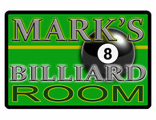 PERSONALIZED METAL SIGN YOUR NAME BILLIARDS CUSTOM SIGN DURABLE FULL COLOR #043