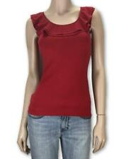 REVIEW Red Knit Ruffled Neckline Top Blouse Tank Sz 6  #3529