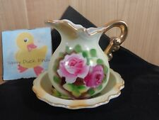 Vintage Norcrest Mini Pitcher and Saucer Plate Pink Roses Gilt Porcelain L320
