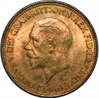 1933 HALF PENNY UK GEORGE V. / UNCIRCULATED WITH FULL LUSTRE