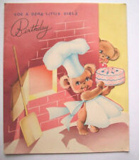 Vintage 3 Bears bake a cake for little girl's Birthday greeting card *X