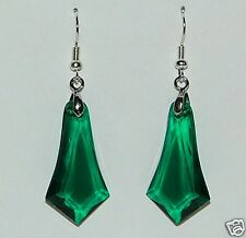 LARGE DEEP GREEN FACETED ACRYLIC CRYSTAL SILVER PLATED DECO STYLE SPEAR EARRINGS