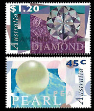Australia. Gems Type. Pearl, Diamond. 1996 Scott 1554-1555.  MNH (BI#3)