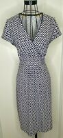 Ladies BODEN Navy White Retro Geometric Pattern Wrap Cotton Dress UK 14