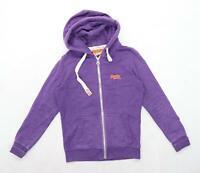 Superdry Womens Size M Cotton Blend Purple Zip Up Hoodie (Regular)