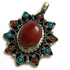 Big Tibetan Copper Turquoise Red Coral 10 Gemstone Heart Edged Amulet Pendant