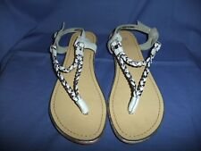 Ladies ASOS White & Silver Leather Summer Flip Flops Sandals Size EUR 38 / UK 5