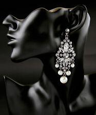 Pearl Chandelier Drop Earrings Crystal Pave Flower Shiny Silver Tone Designer