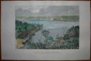 1889 Reclus print SYDNEY HARBOUR, NEW SOUTH WALES, AUSTRALIA (#65)