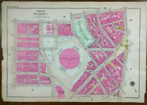 Vintage 1916 CIVIC CENTER NEW YORK CITY Map COLUMBUS PARK FOLEY SQUARE OLD NYC