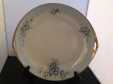 1920's Noritake handled cake plate blue w/mother of Pearl, Blue Fgold trim Japan