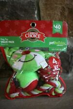 GRREAT CHOICE CHRISTMAS  4 DOG TOYS 2 BALLS, PEPPERMINT SQUEAK &  ROPE CHEW TOY