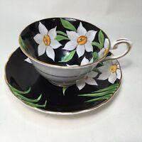 VINTAGE Tuscan Tea Set Teacup Saucer Fine Bone China ENGLAND Black White Floral
