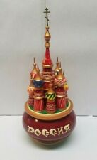 Vintage Lacquered Wood Russian St Basil's Cathedral Music Box