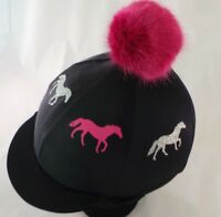 Faux Fur Pom Pom Riding Hat Cover Silk Equestrian Cross Country  sparkly horse