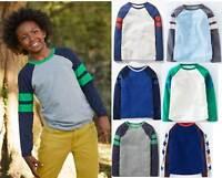 Mini Boden top raglan Johnnie b long sleeve tee t-shirt cotton jersey boys blue