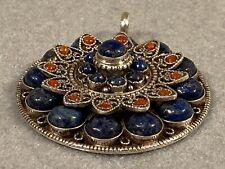 Vintage Sterling Silver Tibetan Secret Compartment Pendant Reliquary Lapis Coral