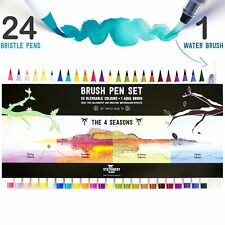 Stationery Island Brush Pens - 24 Watercolour Pens + Water Brush - Four Seasons