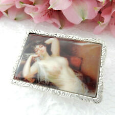 Silver Plated Repousse Enamel Nude Lady Trinket Pill Box