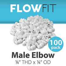 """Male Elbow 1/4"""" Quick Connection Fitting Parts Water Filters RO Systems - 100 Pk"""