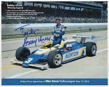 BOBBY UNSER HAND SIGNED 8x10 COLOR PHOTO+COA         RACING LEGEND     TO MIKE