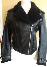 Harley Davidson women's leather jacket faux lamb shearing fur lining medium warm