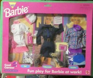 Mattel Barbie Cool Career Fashions Gift Set - Chef, Policewoman, Executive