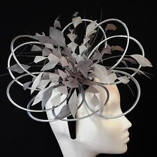 Silver/Steel Grey Feather Fascinator For Races, Proms , Weddings