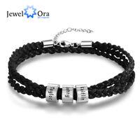Personalized Leather Men Bracelet Wristband  Stainless Steel Band Bangle Braid