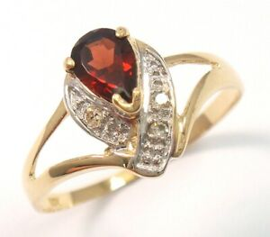 SYJEWELLERY 9CT SOLID YELLOW GOLD NATURAL GARNET & DIAMOND RING SIZE M R1299