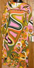 Vintage 60s MOD colorful psychedelic abstract OP ART Dress