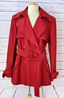 LAFAYETTE 148 Womens Size 12 Silk Blend Double Breasted Belted Trench Coat Red